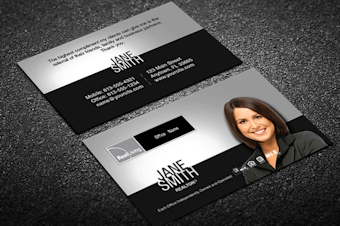 Real living real estate business cards free shipping black silver real living business card template reheart Image collections