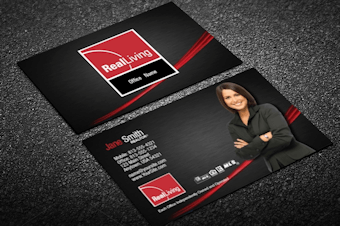 Real living real estate business cards free shipping silver foil effect real living business card classy reheart Image collections